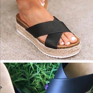 Ladies Cross Espadrilles Slides